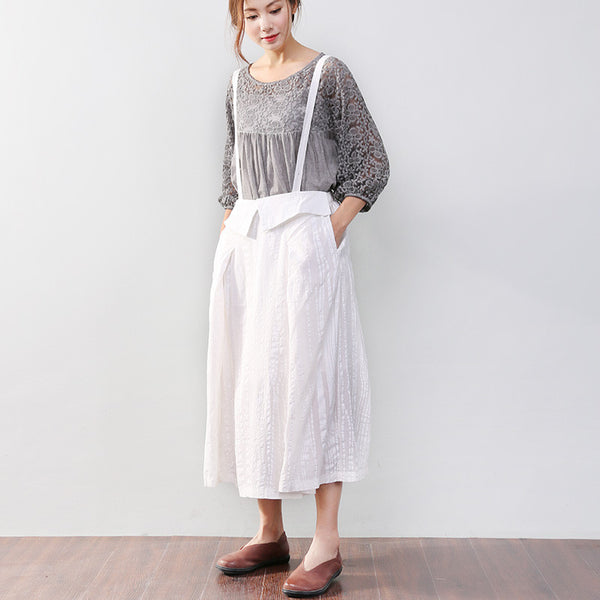 Women Solid Casual Loose Strap White Skirt - Buykud