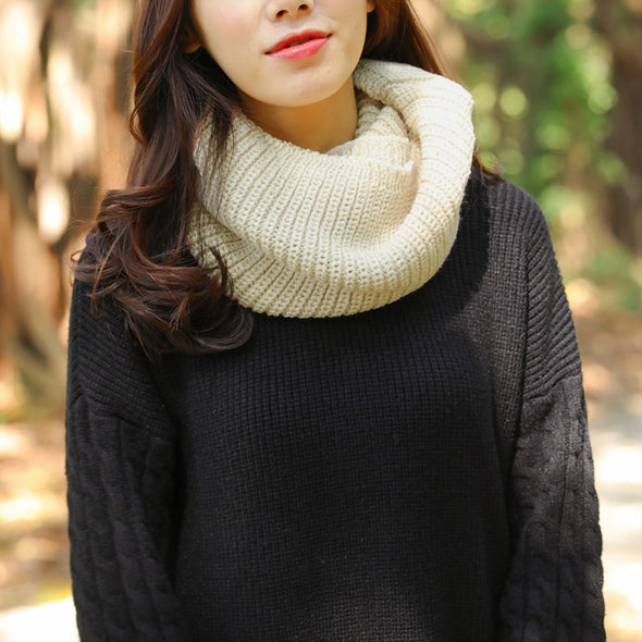Autumn Winter Solid Color Women Warm Open-Knitting Circle Scarf - Buykud