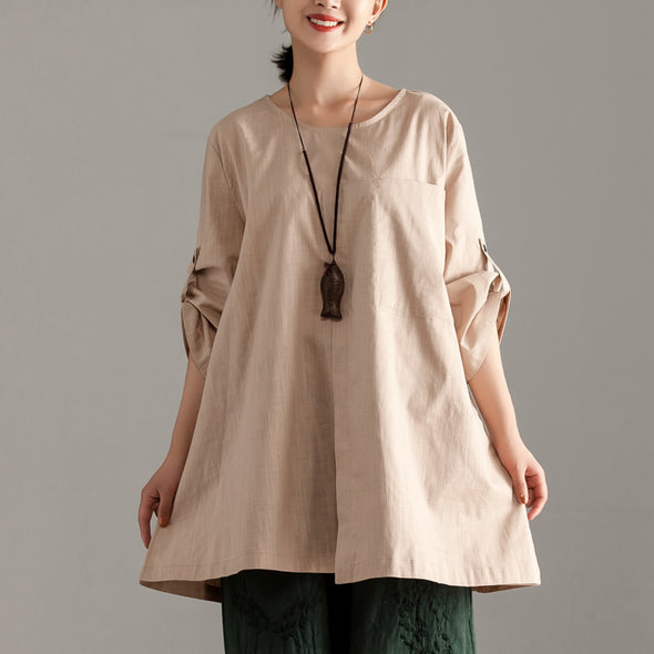 Casual Short Sleeve Khaki Pocket Long Tops