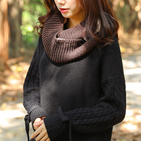 Women Autumn Winter Contrast Color Stitching Knitting Circle Scarf - Buykud