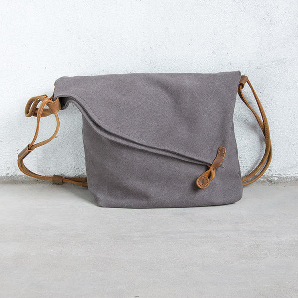 Retro Women Canvas Zipper Gray Shoulder Bag