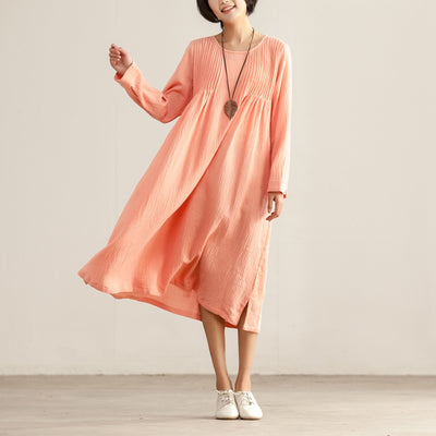 Loose Women Folded Round Neck Long Sleeve Side Slit Dress - Buykud