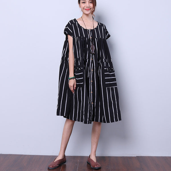 Stripe Linen Cotton Loose Women Splicing String Summer Black Dress