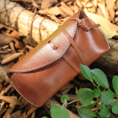 Vintage Portable Unisex Leather Lacing Glasses Case - Buykud