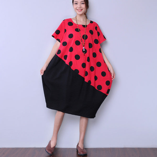 Casual Short Sleeve Dot Pocket Women Red Dress - Buykud