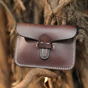 Unisex Retro Leather Coffee Small Wallet Key Bag - Buykud