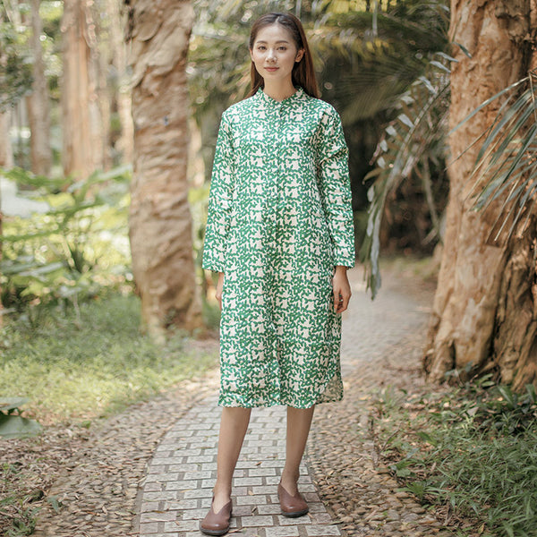 Vintage Casual Loose Printing Cotton Splitting Long Sleeves Green Dress