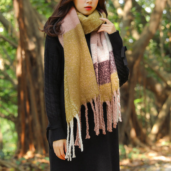 Autumn Winter Contrast Color Stitching Knitting Tassel Shawl Scarf - Buykud