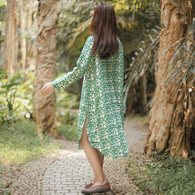 Vintage Casual Loose Printing Cotton Splitting Long Sleeves Green Dress - Buykud