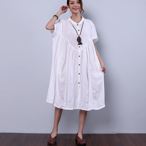 Splicing Summer Loose Cotton Linen Women Casual White Dress