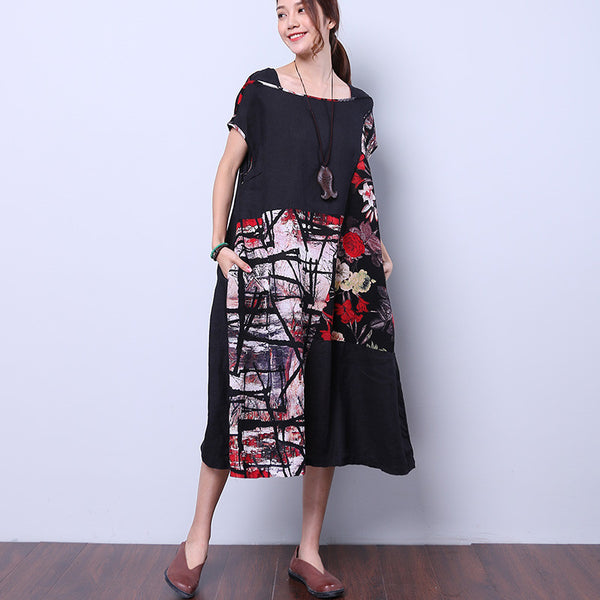 Retro Loose Floral Black Women Dress
