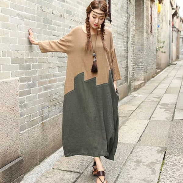 Women Spring Autumn Pullovers Loose Dress - Buykud