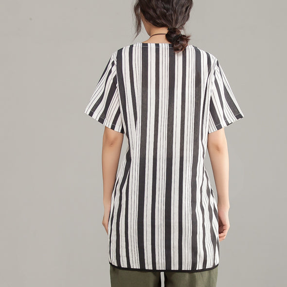 Stripe Lacing Irregular Short Sleeve Black Women Tops - Buykud
