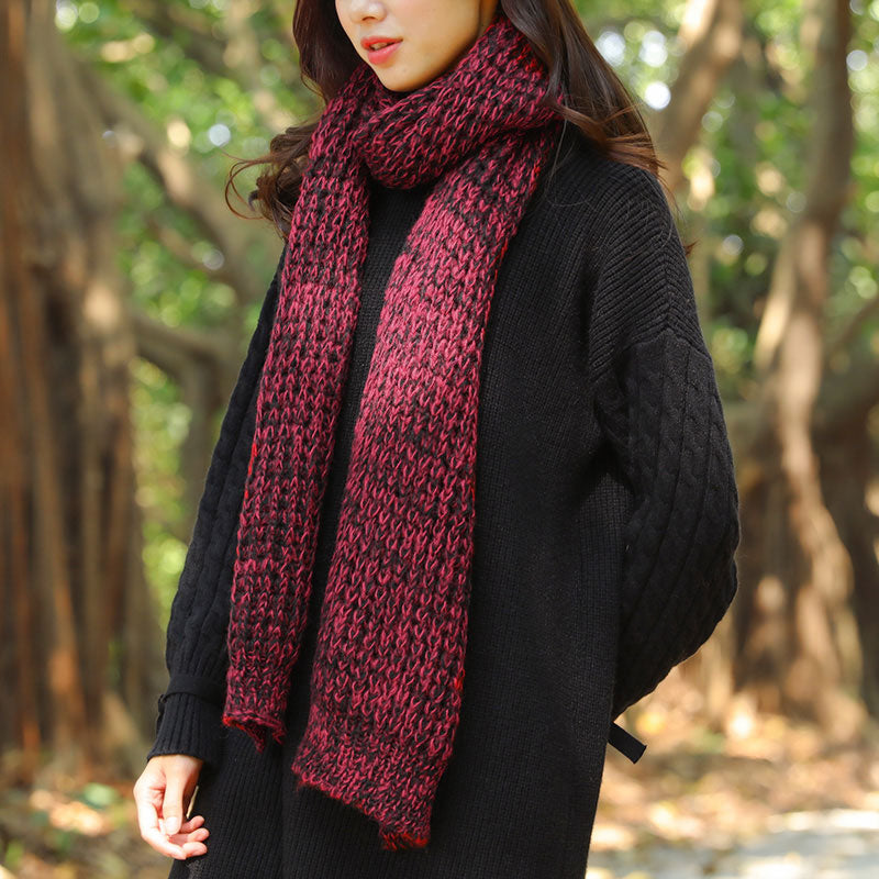 Autumn Winter Rectangle Red Black Open Knitting Scarf
