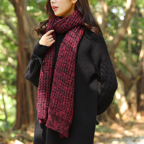 Autumn Winter Rectangle Red Black Open-Knitting Scarf - Buykud