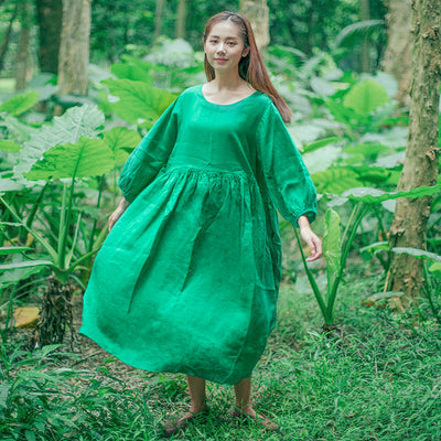 Chic Women Casual Loose Pleated Linen Puff Sleeves Green Dress - Buykud