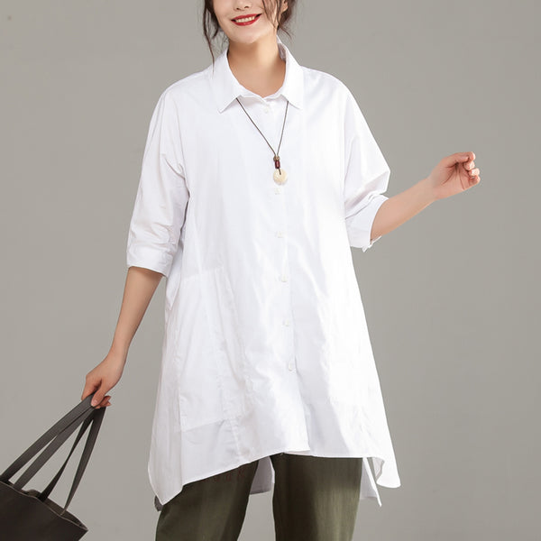 Loose Single Breasted Polo Collar Embroidery White Shirt - Buykud