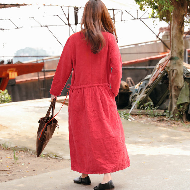 Retro Long Sleeve Pockets Lacing Pleated Red Dress - Buykud