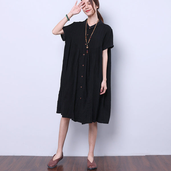 Splicing Summer Loose Cotton Linen Women Casual Black Dress