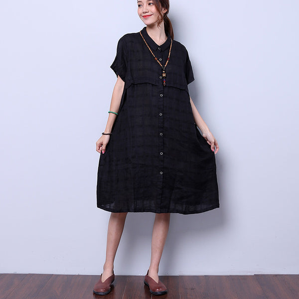 Summer Women Casual Loose Black Dress