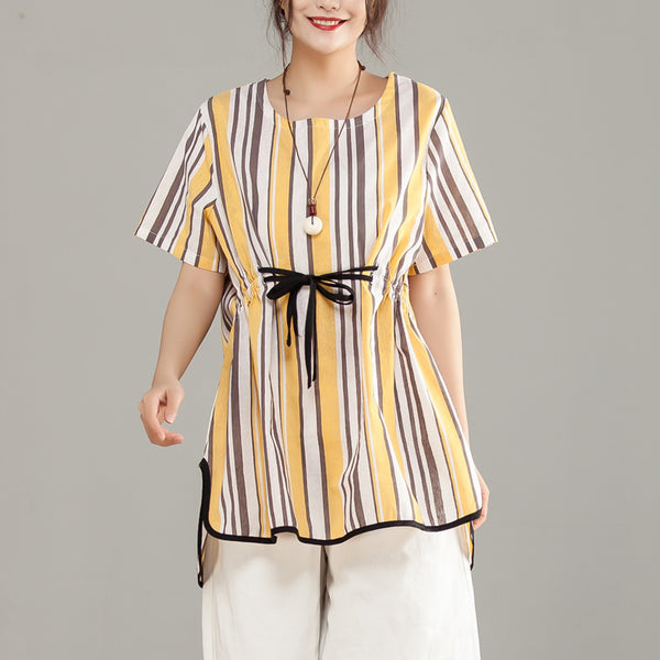 Stripe Lacing Irregular Short Sleeve Yellow Women Tops - Buykud
