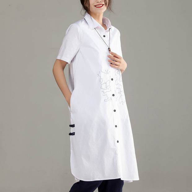 Casual Polo Collar Short Sleeve Embroidery White Shirt - Buykud