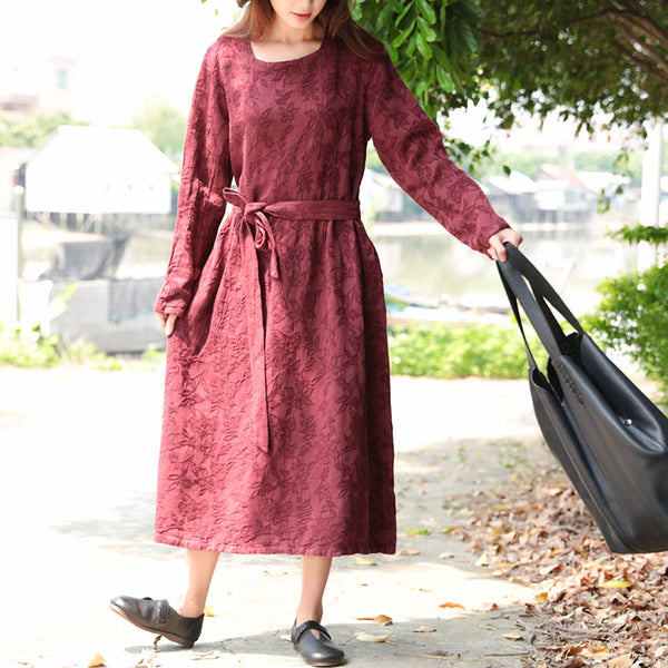 Women Wine Red Retro Long Sleeve Pockets Lacing Embroidery Dress - Buykud