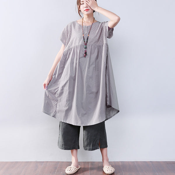 Cotton Linen Loose Splicing Hollowed Women Short Sleeves Gray Dress - Buykud