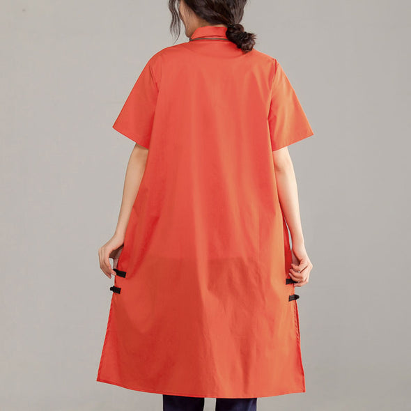 Polo Collar Short Sleeve Embroidery Orange Red Shirt - Buykud