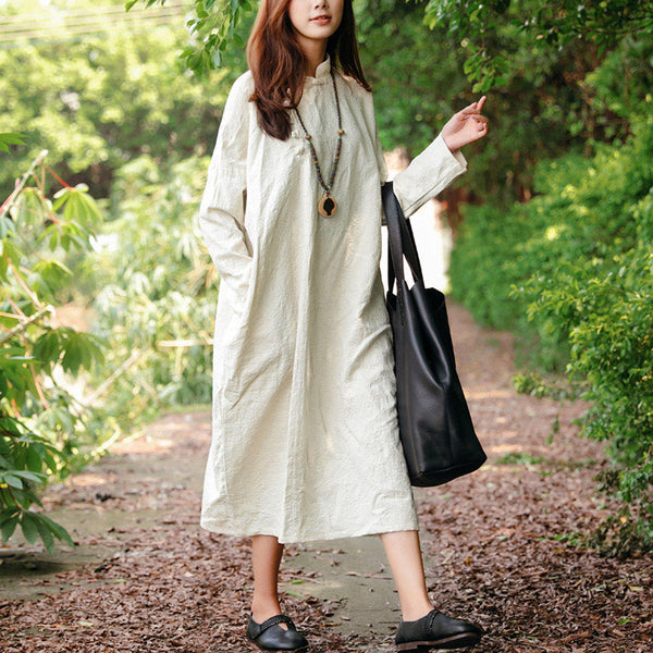 Women Stand Collar Retro Long Sleeve Frogs Dress - Buykud