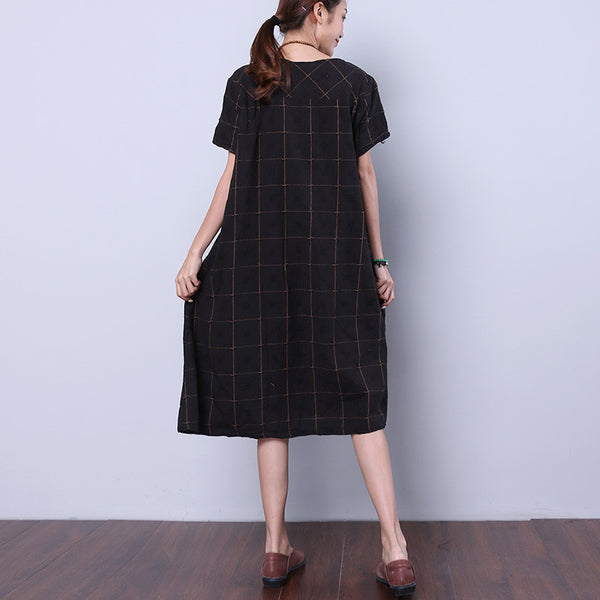 Summer Women Lattice Pocket Button Black Dress - Buykud