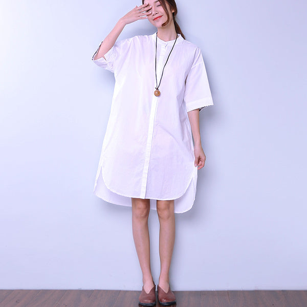 Solid Women Button Applique Slit White Dress - Buykud