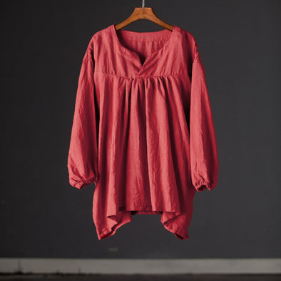 Loose Long Sleeve Summer Women Casual Red Blouse