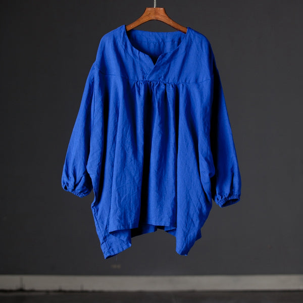 Casual Split Neck Blue Linen Pullovers Summer Blouse Shirt