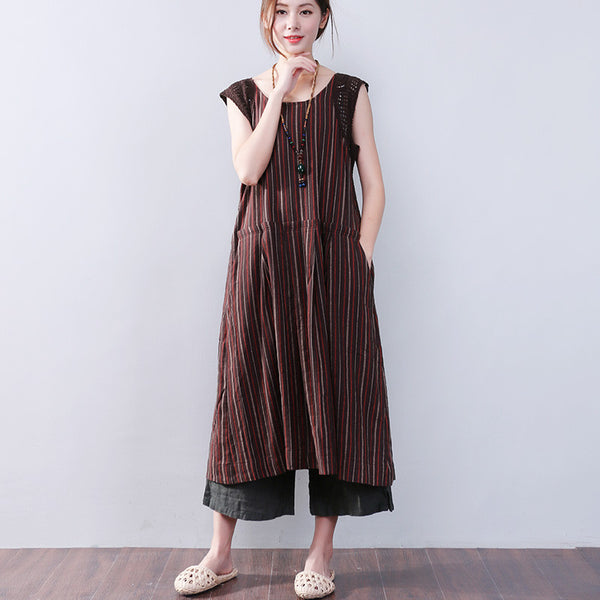 Splicing Hollowed Stripe Cotton Linen Loose Sleeveless Brown Dress - Buykud