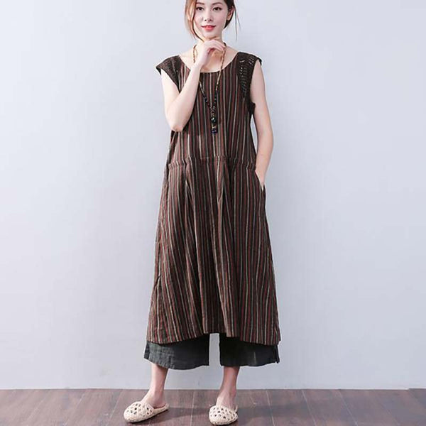 Splicing Stripe Cotton Linen Loose Sleeveless Dress