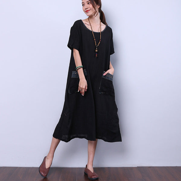 Ethnic Women Splicing Loose Pocket Printing Folded Black Dress