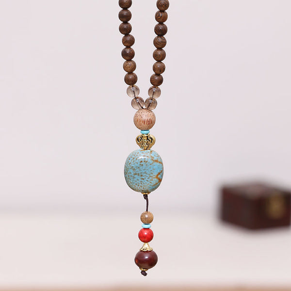 Ethnic Exquisite Women Retro Wood Beads Necklace