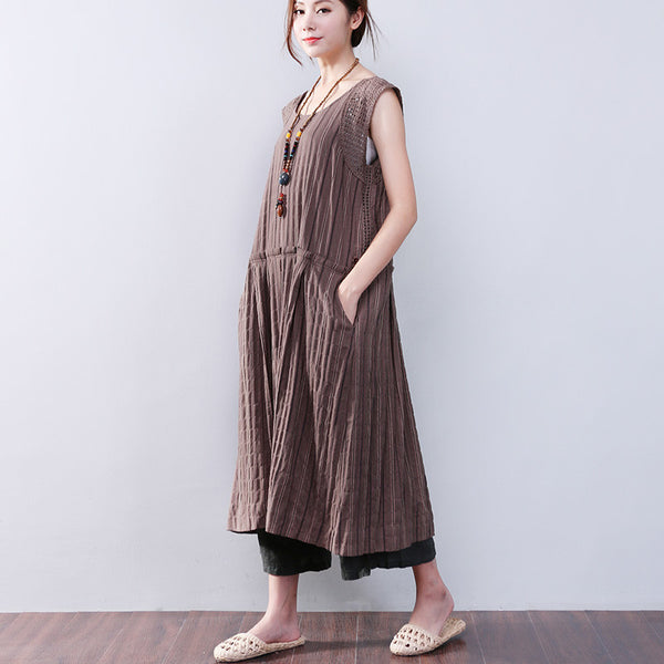 Splicing Hollowed Stripe Cotton Linen Loose Sleeveless Coffee Dress - Buykud