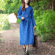 Women Blue Retro Long Sleeve Pockets Lacing Embroidery Dress - Buykud