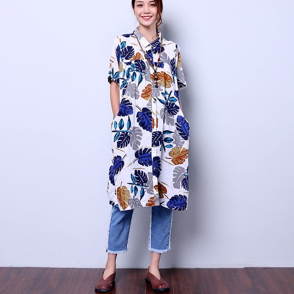 Women Casual Floral Loose White Dress