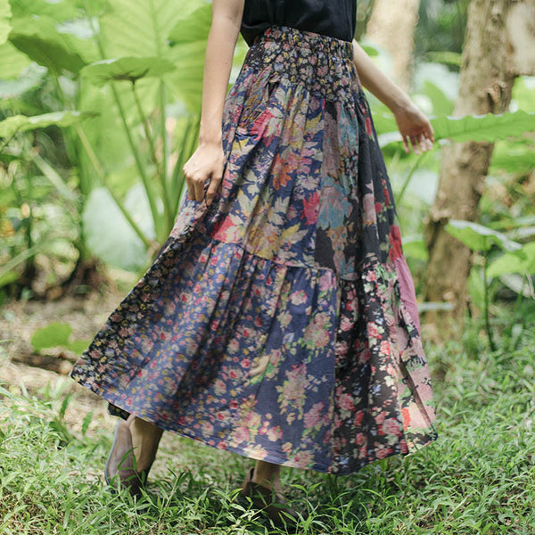 Women Casual Retro Lattice Splicing Printing  Skirt