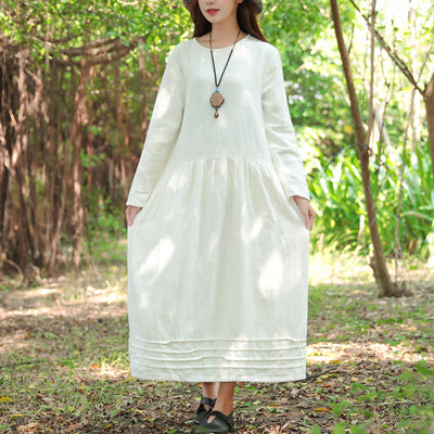 Women White Retro Long Sleeve Pockets Pleated Dress - Buykud