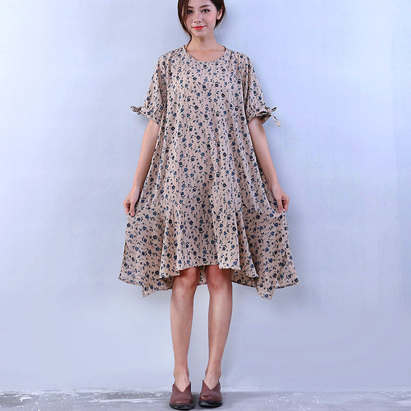 Women Loose Floral Lacing Casual Cotton Beige Dress