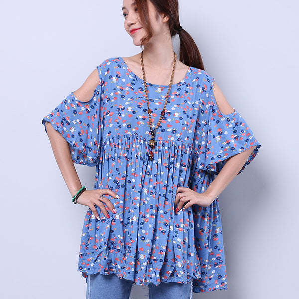 Printing Floral Loose Summer Women Folded Light Blue Shoulder Shirt