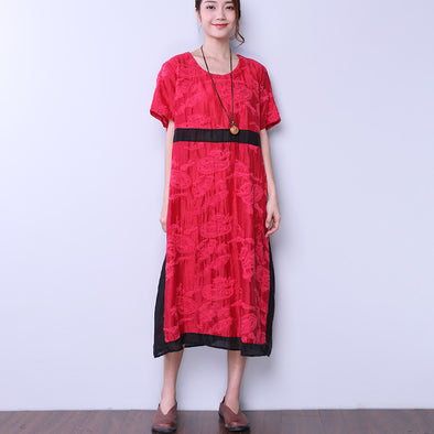 Ethnic Women Silk Linen Applique Dress - Buykud