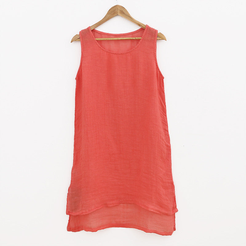 Summer Women Linen Orange Vest