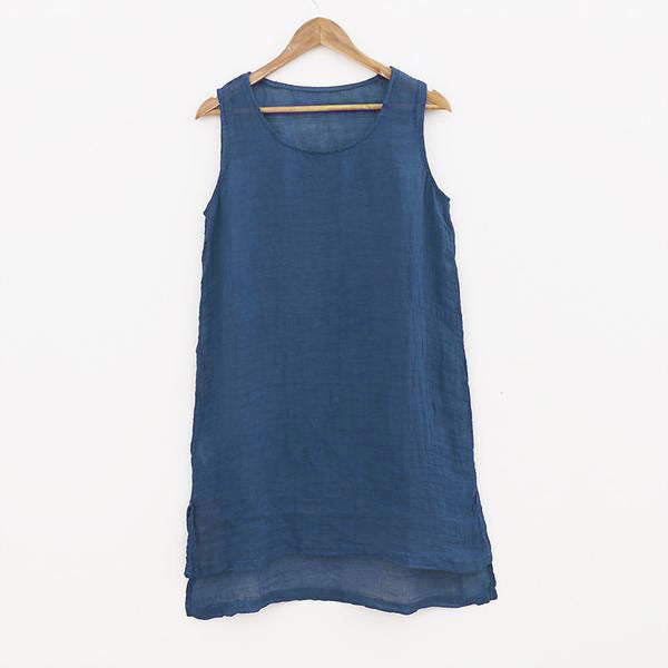 Summer Women Linen Dark Blue Vest - Buykud