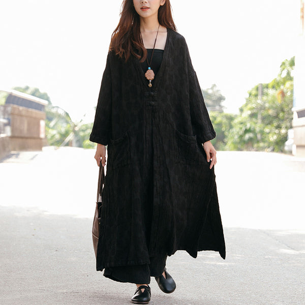 Women Frogs Pockets Side Slit Embroidery Long Sleeve Retro Coat - Buykud