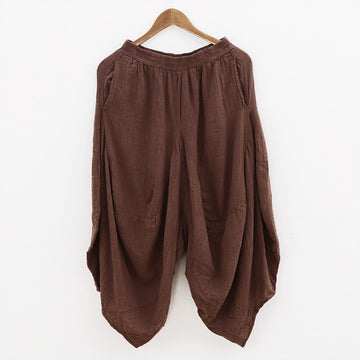 Irregular Linen Casual Women Loose Harem Pants - Buykud